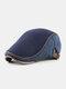 Men Knitted Patchwork Autumn Winter Casual Warmth Beret Flat Cap - Dark Blue