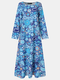Casual Print O-neck Long Sleeve Plus Size Dress for Women - Blue