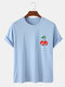 Mens Skull Cherry Graphic Funny 100% Cotton Short Sleeve T-Shirts - Blue