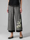 Daisy Floral Printed Two Layer Elastic Waist Pants For Women - Dark Grey
