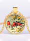 Alloy Glass Vintage Birds Floral Pattern Printed Necklace Pendant - Gold