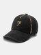 Unisex Polyester Cotton Colorful Valgus Overlock 3D Letter Embroidery Fashion Sunshade Baseball Cap - Black