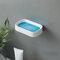 1Pc Soap Holder Double-Layer Bathroom Accessories Plastic Shower Soap Dish Non-Slip Draining Tool Drainage Household Soap Box - Blue