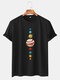 Mens Colorful Planet Printed Cotton Casual Round Neck T-shirts - Black