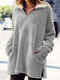 Solid Color Zipper Pocket Plush Long Sleeve Casual Coat for Women - Gray