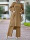 Solid Color O-neck Long Sleeve Plus Size Button Blouse Suit for Women - Khaki