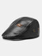 Collrown Men Faux Leather Solid Color Flat Cap Retro Casual Outdoor Forward Hat Beret Hat - Black