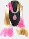 Bohemian Chiffon Gradient Scarf Necklace Drop-Shape Pendant Women Necklace - #05