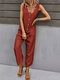Casual Solid Button Front Pocket Jumpsuit for Women - Orange