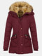 Solid Color Long Sleeve Plush Hooded Button Coat - Wine Red
