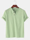 T-shirt décontracté à col en V de couleur unie 100% coton pour hommes - vert