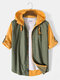 Mens 100% Cotton Stripe Patchowork Solid Color Hooded Shirt With Pocket - Yellow