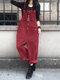 Solid Color Button Pocket Sleeveless Casual Corduroy Jumpsuit for Women - Wine Red