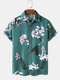 Mens Floral Plant Print Button Up Holiday Short Sleeve Shirts - Green