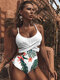 Women Contrast Leaf Print Lace Up Wide Straps One Piece Swimsuit - Green5