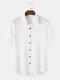 Seersucker arrugado de color sólido para hombre, manga corta, dobladillo alto-bajo Camisa - Blanco