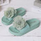 Women Summer Casual Flowers Peep Toe Flat Platform Slippers - Green