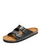 Men Brief Buttons Decoration Cork Sole Opened Toe Slippers - Black