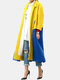 Contrast Color Patchwork Long Sleeve Casual Coat For Women - Yellow