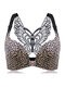 Butterfly Embroidery Front Closure Wireless Adjustable Gather Soft Bras - Leopard