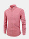 Mens Business Casual Stripe Breathable Single Breasted Turndown Collar Cotton Shirt - Red