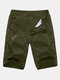 Mens Knee Length Solid Color Cotton Cargo Pants Beach Casual Shorts - Army Green