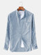 Mens Cotton Striped Vintage Breathable Loose Fit Long Sleeve Fashion Casual Shirt - Light Blue