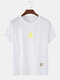 Mens Cotton Solid Color Small Sun Breathable Loose O-Neck T-Shirts - White