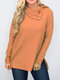 Cowl Neck Button Solid Color Long Sleeve Shirt