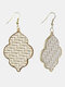 Vintage Baroque Alloy PU Leather Geometric-shape Argyle Floral Printing Earrings - #12