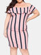 Striped Color Contrast Ruffle Layered Plus Size Off Shoulder Dress - Pink
