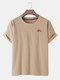 Mens National Style Embroidered Cotton Linen Round Neck Short Sleeve T-shirts - Khaki