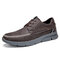 Menico Men Stitching Microfiber Leather Comfy Lace-up Business Casual Shoes - Coffee