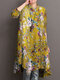 Floral Print Half-collar Casual Dresses for Women - Yellow