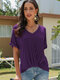 Solid Color V-neck Short Sleeves Casual T-shirt For Women - Purple