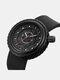 Silicone Men Business Watch Unique Design Dial Waterproof Quartz Watch - Black