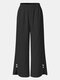 Solid Color Elastic Waist Casual Pants For Women - Black