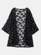 O-NEWE Sexy Lace Embroidery Long Sleeves Beach Cardigans - Black