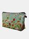 Portable Natural Landscape Printed Makeup Bag Multi-Color Flower Women Travel Wash Storage Bag - Green