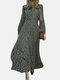 Floral Printed Bowknot Side Invisibled Zipper Long Sleeve Casual Dress - Dark Green