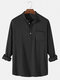 Mens 6 Color Cotton Linen Solid Casual Henley Shirts With Pocket - Black