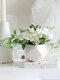 1PC Potted Rose Artificial Flower Iron Pot Bonsai Home Office Garden Decor Artificial Green Leave Plant Decoration - White