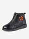 Warm Round Toe Solid Color Soft Wearable Comfortable Flat Ankle Cotton Boots - Black