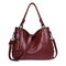 Genuine Leather Tassel Pendant Plaid Handbag Crossbody Bag For Women