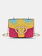 Cute Heart-shaped Flap Stitching Color Wearable Exquisite Hardware Square Bag PVC Jelly Cosmetic Bag - #04