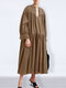Casual Solid Color V-neck Long Sleeve Pleated Dress - Khaki