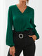 Solid Color V-neck Lantern Sleeves Casual Blouse For Women - Green