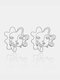 Vintage Alloy Exaggerated Face Pierced Three-dimensional Mask Earrings - Silver