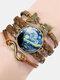 Vintage Painting Crystal Bracelet Hand-Woven Butterfly Infinity Symbol Men Women Multi-Layer Leather Bracelet - #04