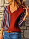Striped Patchwork V-neck Long Sleeve Plus Size Casual Shirt For Women - Red